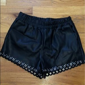Honey punch faux leather shorts size small